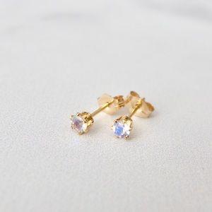 3mm moonstone stud earrings 14k GF